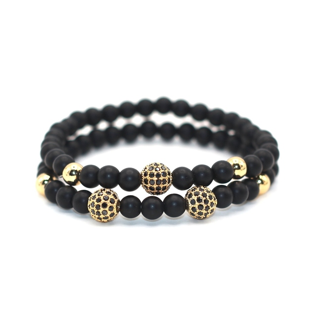 6026db454003 1 Unidades 2 piezas Lucky Gem nueva moda negro Natural Mantra oración  piedra buda pulsera para