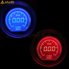 2 52mm Car Tachometer Gauge Digital Blue & Red LED Electronic 0-9999 RPM Auto Tacho Meter Speed Ratio Automobile instrument 12V 2 52mm car tachometer blue digital led electronic 0 9999 rpm auto tacho gauge 2 inch automobile instrument 12v black