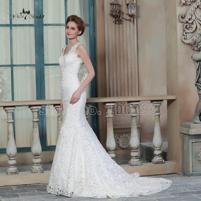2015 White /Ivory Mermaid V-neck Lace Wedding Dress Custom Made Church Vestido De Casamento RQW-18