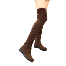 Women's Fashion over knee high long boots knitted stretch material winter autumn boots casual platform boots for ladies