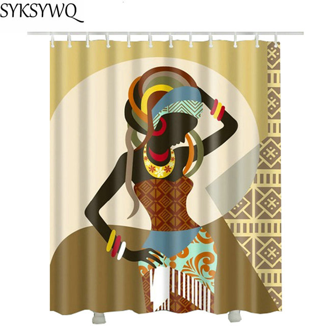 African American Shower Curtain Fabric 2018 New Hot Sale Drop Shipping Waterproof Polyester Bathroom