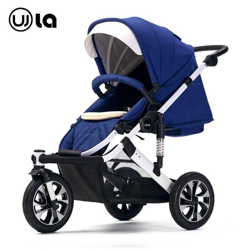 Bebê de três rodas carrinho de alta paisagem pode sentar e deitado carrinho de bebê pode ser transformado para dobrável luz bebê dobrável guarda-chuva do carro