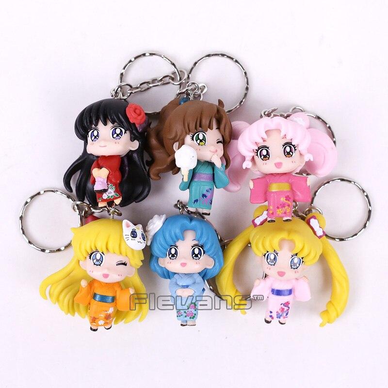 Sailor Moon Tsukino Usagi Chibi Usa Sailor Mars Mercury Venus Jupiter Kimono Ver. PVC Figures Toys Keychains Pendants 6pcs/set moon flac jeans