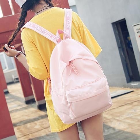 Japanese Korean version 2017 new nylon Sweet solid pink red green black campus man woman schoolbag travel Backpacks
