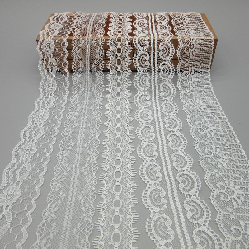 Hermosa 10 Yardas de Encaje Blanco Cinta de Ancho Bordado de la cinta - Artes, artesanía y costura