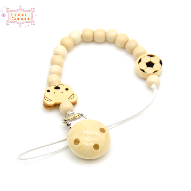 Wood Pacifier Clip Metal Dummy Clip Nature Football Pattern Pacifier Chain Soother Holder Baby Feeding Clips Attache Sucette in Pacifier from Mother Kids