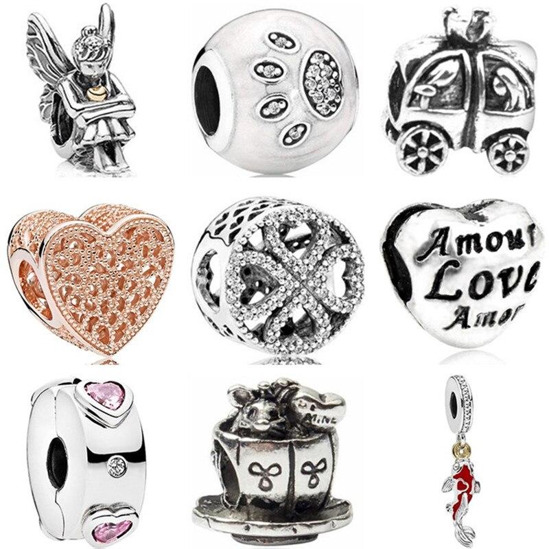 Charms Jewelry Hollow-Sock-Cup Crystal Car-Heart-Beads Cross-Angle Original Pandora High-Quality