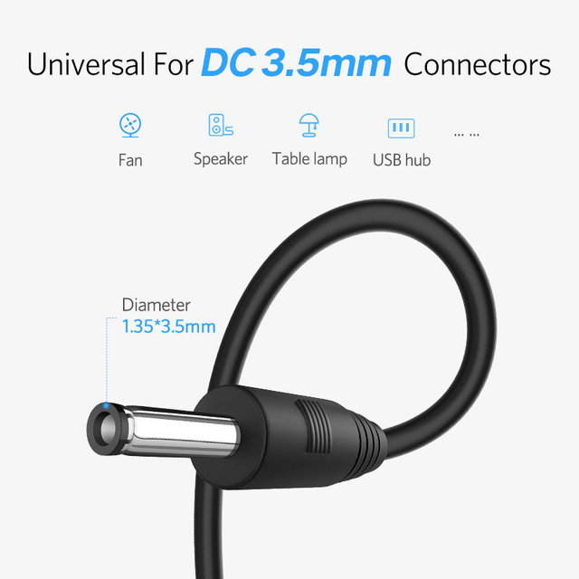 Ugreen USB to DC 3.5mm Power Cable USB A Male to 3.5 Jack Connector 5V Power Supply Charger Adapter for HUB USB Fan Power Cable
