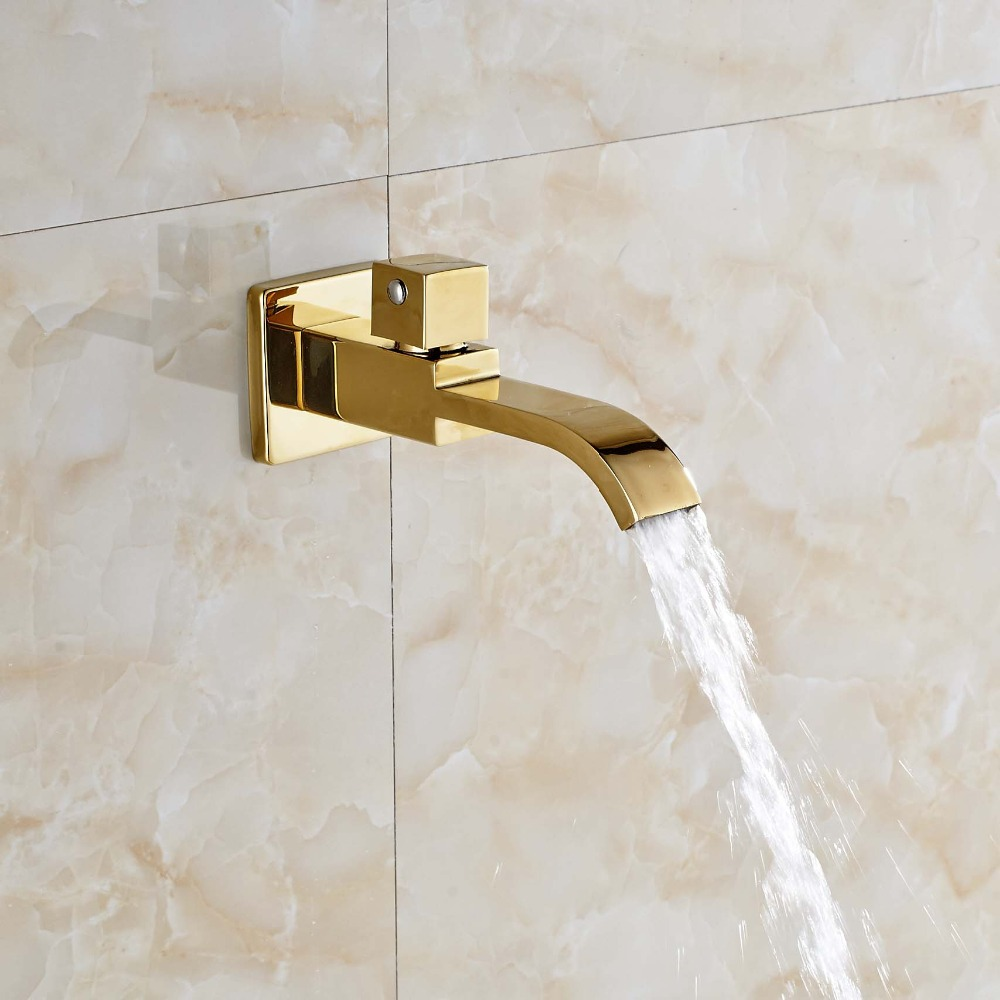 NEW Tub Spout Wall Mounted Bathroom Tub Spout Pool Faucet Tap Golden Brass