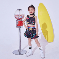 Colorful Jazz Hip Hop Dance Costume For Girls Tops Skirt 2 Pieces Set Kids Stage Performance Wear Children Jazz Clothing DL2459