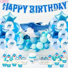 QIFU Baby Shark Birthday Party Supplies Happy Decorations Kids Boy Blue Shower Sea Theme Decor