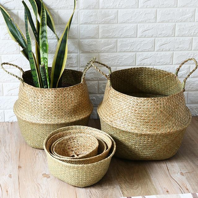 Handmade Seagrass Cestas De Vime de Armazenamento De Roupas De Lavanderia Dobrável Natural Rattan Tecido bolsa de Palha De Bambu Brinquedo Cesta de Vaso de Flores de Plantas