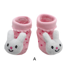 Cartoon Newborn Baby Girls Boys Anti-Slip Socks Slipper Boot Baby Girls Socks Newborn Soft Cute Rabbit Baby Socks S(0-12M)
