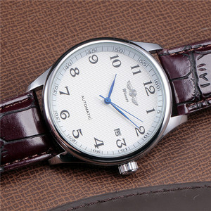 Image 5 - WINNER Famous Brand Men Business Automatic Watches Auto Date Man Fashion Mechanical Wristwatches Leather/Stainless Steel Band
