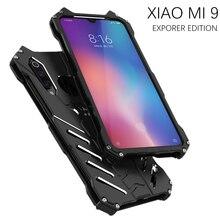 יוקרה באטמן Kickstand עמיד הלם מקרה עבור Xiaomi 9 9SE אלומיניום פגוש עור שריון מתכת חזרה כיסוי עבור Xiaomi 9 9 SE