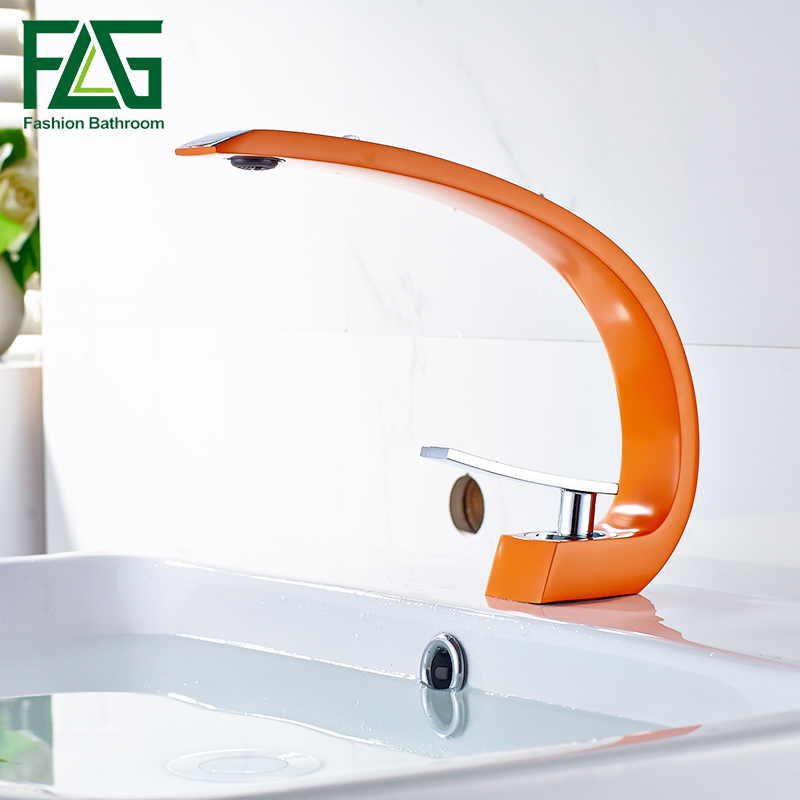 New Design Orange Painting Bathroom Hot And Cold Mixer Tap Solid Brass Basin Faucet Chrome Faucet FLG100329 fashion design goose neck brass robinet bathroom basin tap faucet