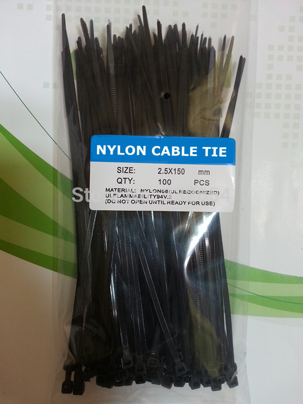 3mm x 100mm Self Locking Nylon Cable Ties Industrial Wire Zip Ties Black 100pcs