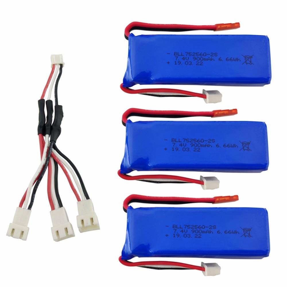 3 Pcs 7.4 V 900 Mah Lithium Batterij Met 1 Tot 3 Opladen Converter Voor Xk X520 Xk X420 6 Kanalen Borstelloze Aileron 3d Batterij