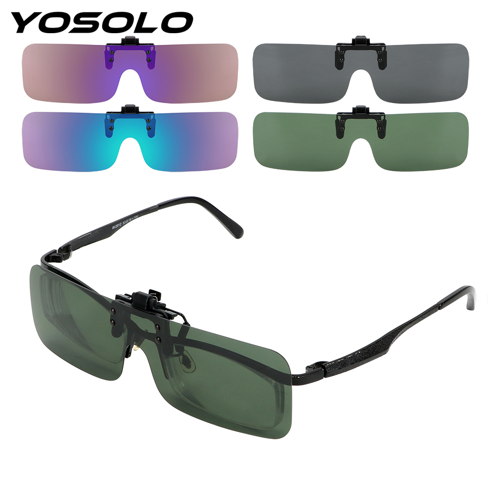 YOSOLO Car Driver Goggles Polarized Sun Glasses Car Styling Clip On Sunglasses Anti-glare Driving Night Vision Lens