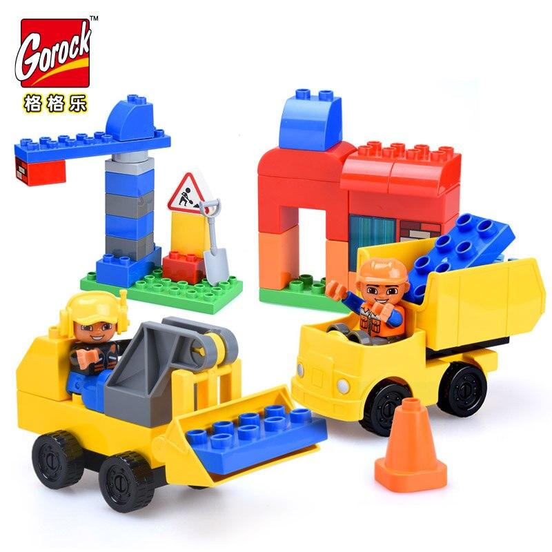 GOROCK 52 pièces Ville Gros Blocs De Construction Pelle Grande briques à monter soi-même Jouets pour Enfants Compatible Avec Duploe Cadeau De Noël