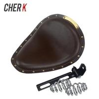 Cherk Brown Leather Vintage Front 3 Spring Bracket Solo Seat Cover For Harley Sportster 883 XL Bobber Chopper Custom Cafe Racer