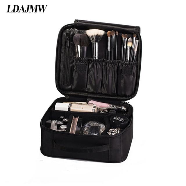 Ldajmw Double Deck Las Waterproof Cosmetic Suitcase Fashionable Portable Storage Bags For Makeup