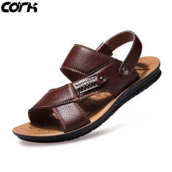 Cork Men Sandals Summer Genuine Leather Roman Sandals Male Casual Shoes Beach Flip Flops Men Fashion Outdoor Slippers Shoes 1