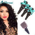 7A Loose Wave With Closure Brazilian Loose Wave Virgin Hair With Lace Closure And3 Bundles With Closure Human Hair With Closure