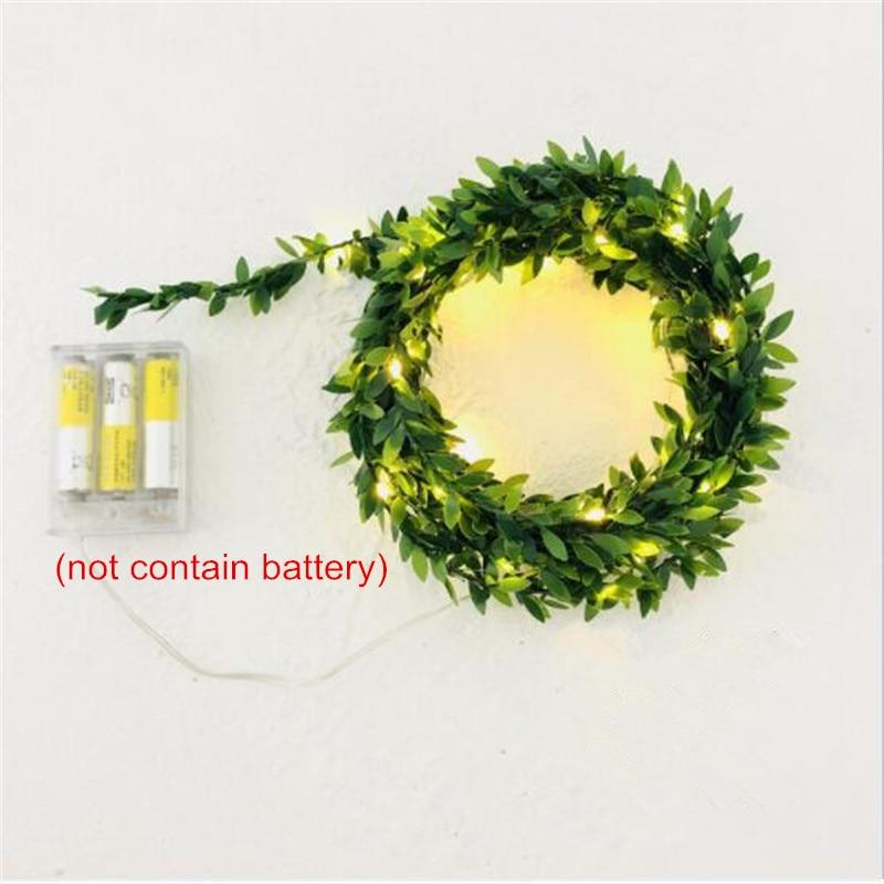 10M 5M 3M AA Battery LED Green Leaf Christmas Light Holiday String Lights Valentine Wedding Party Decoration Ivy Leaf LED Lamp