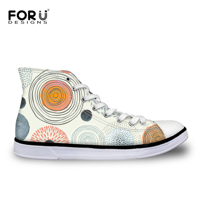 9d87319b293b FORUDESIGNS Vintage 3D Geometry Printed Vulcanize Shoes Women High Top  Casual Canvas Shoes for Ladies Flats Sneaker Footwear
