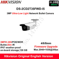 Hikvision 3MP Kamera IP zewnętrzna poe 1080 p DS-2CD2T35FWD-I5 Angielski H.265 + Ultra-Low Light Bullet CCTV Zabezpieczeń Aparatu WDR IP67