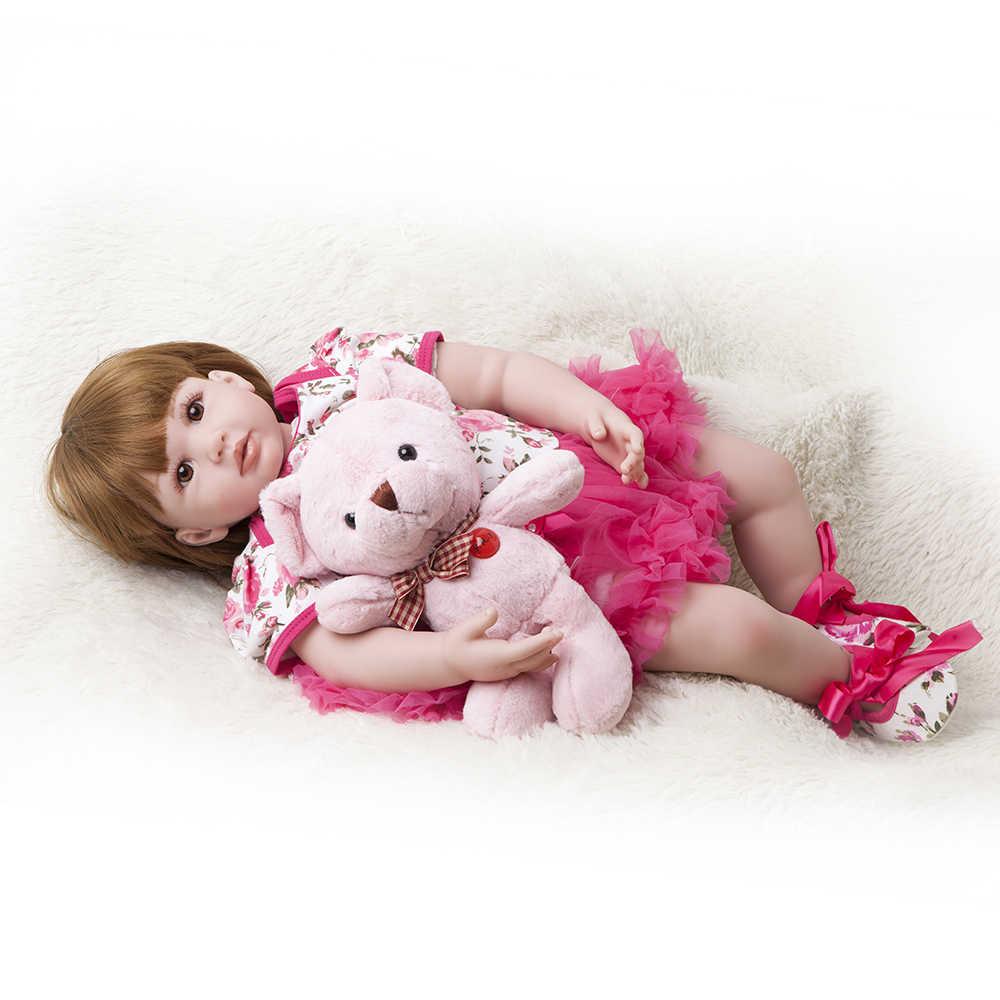 60 cm 24 polegada Vinil Silicone Renascer Boneca Brinquedos Do Bebê Da Princesa Da Criança Bebês Bonecas de Presente de Aniversário Das Meninas Presente Brincadeira de Criança casa de Brinquedo