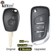 KEYECU 10×433 mhz Chip de PCF7946 2 3 Botão Original/Updraded Virar Fob Chave Remoto para Renault Kangoo 2 3 Clio Modus Mestre Trafic