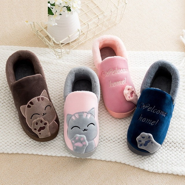 Cute Kids Shoes Warm Cat Cotton Slippers Boy And Girls House Slides Indoor  Animal Soft Mules Dropshipping 0372da1481c7