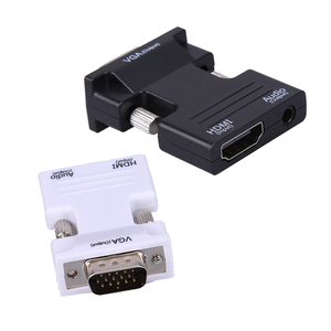 HDMI Female to VGA Male 3.5mm Audio Output Converter 1080P Connector Adapter HDMI Splitter with 45cm Audio Cable for Computer TV