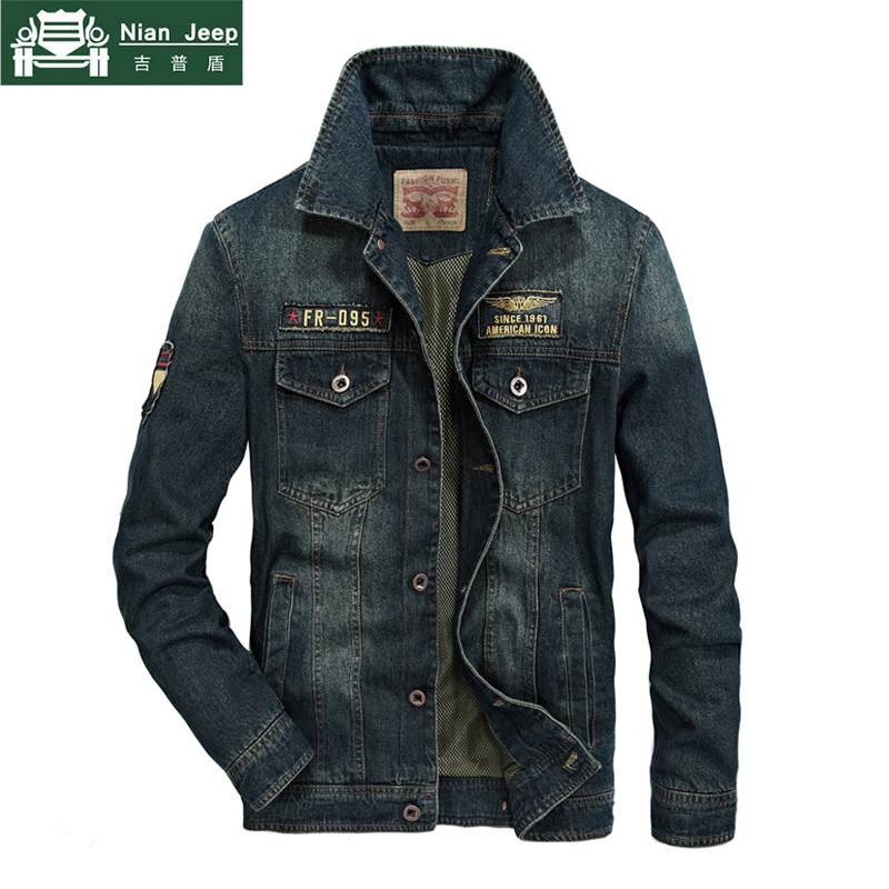 دنيم عال الجودة سترة الرجال العلامة التجارية AFS جيب الملابس الخريف بدوره إلى أسفل طوق رجل السترات أبلى الكلاسيكية جان معاطف حجم M 4XL-في جواكت من ملابس الرجال على  مجموعة 2