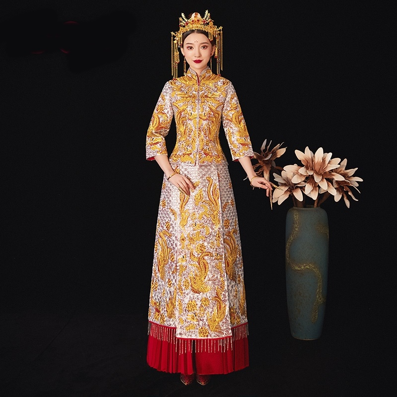 Gold Chinese Wedding Dress Embroidery Traditional Chinese Wedding