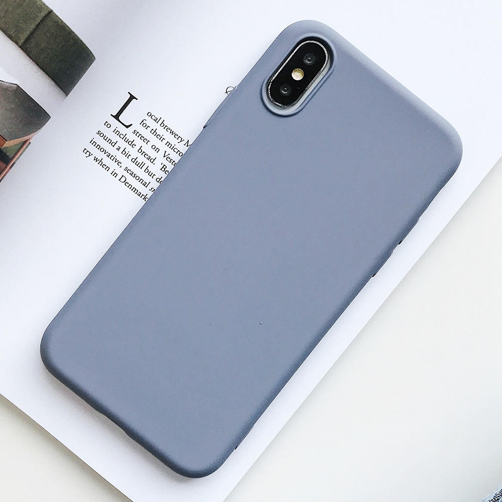 KIPX1124P_1_JONSNOW Pure Color Silicone Case for iPhone XS XR XS Max 6 6S 6P 7 8 Plus Ultra-thin Matte Dirt-resistant Soft TPU Solid Cover