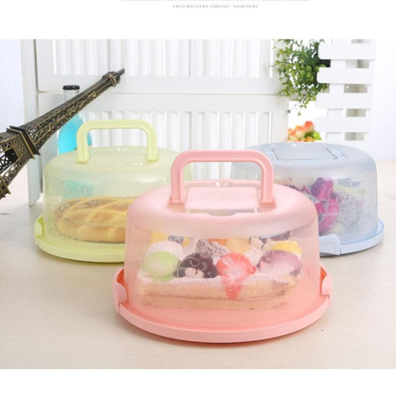 New Round Cake Box Carrier Handle Pastry Storage Holder Dessert Container Cover Case Birthday Wedding Party Cake Accessories A20