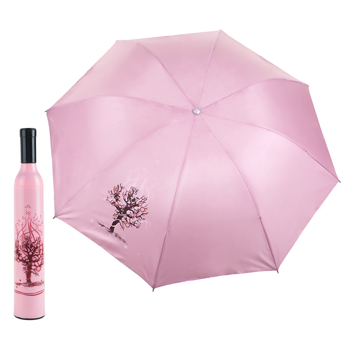 Decorative Wine Bottle Umbrella Folding Portable Sun Rain Flowers Tree Pink and Red Great Gift large double layers folding umbrella windproof rain gear