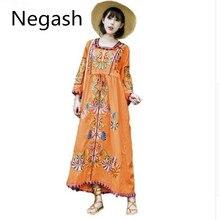 Nuevo Vestido largo túnica de algodón bordado Vintage con flores de estilo étnico Hippie gente Boho suelto Vestido mexicano Vestido de mujer