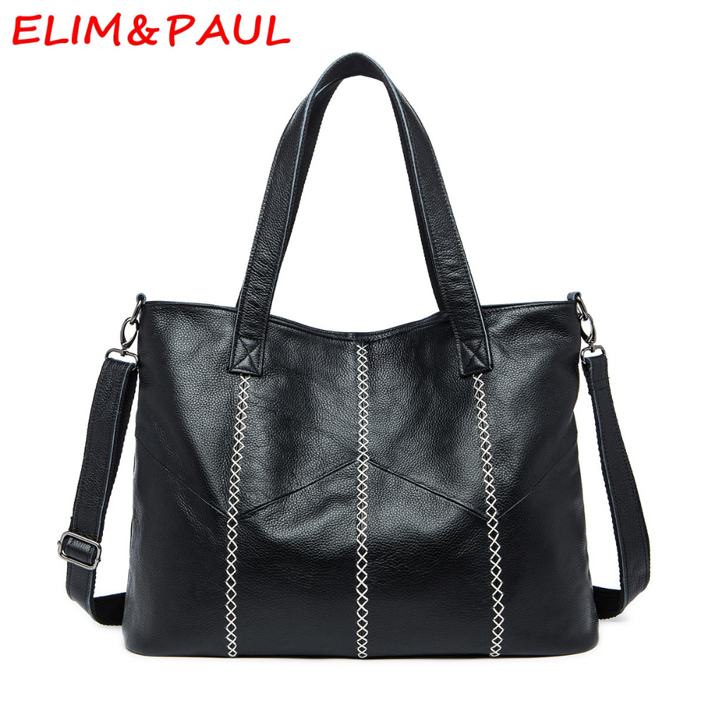 ELIM&PAUL Genuine Leather Bag Luxury Handbags Women Bags Designer Patchwork Vintage Large Space Ladies Tote Women Shoulder Bags elim