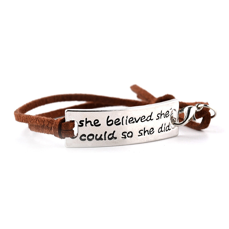 Inspirational Messages Bracelet Leather Positive Motivational Jewelry Best Friend Gift Hand Stamp Cuffs Bracelets