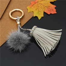 Leather Tassels With Mink Fur Ball Key Chain With One Tassels For Car Keychain Bag Key Ring Jewelry EH811(China)