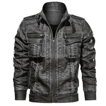 New Design Leather Jacket Men Casual PU Motorcycle Jackets Male jaqueta couro masculina Plus Size 6XL Pocket jacket Coat - discount item  43% OFF Coats & Jackets