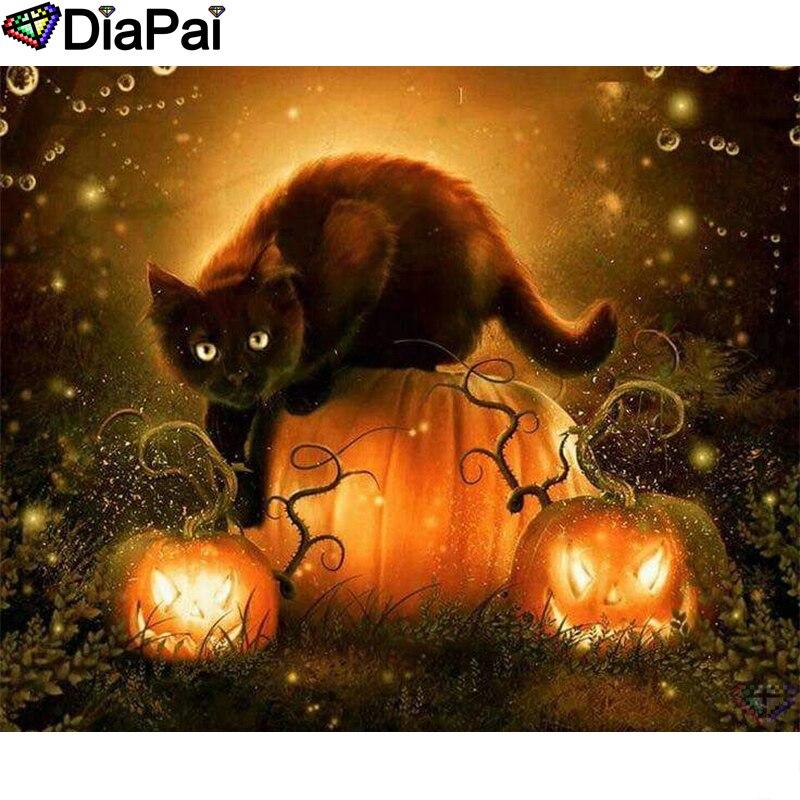 "DIAPAI Diamond Painting 5D DIY 100% Full Square/Round Drill ""Halloween cat"" Diamond Embroidery Cross Stitch 3D Decor A24686 thumbnail"