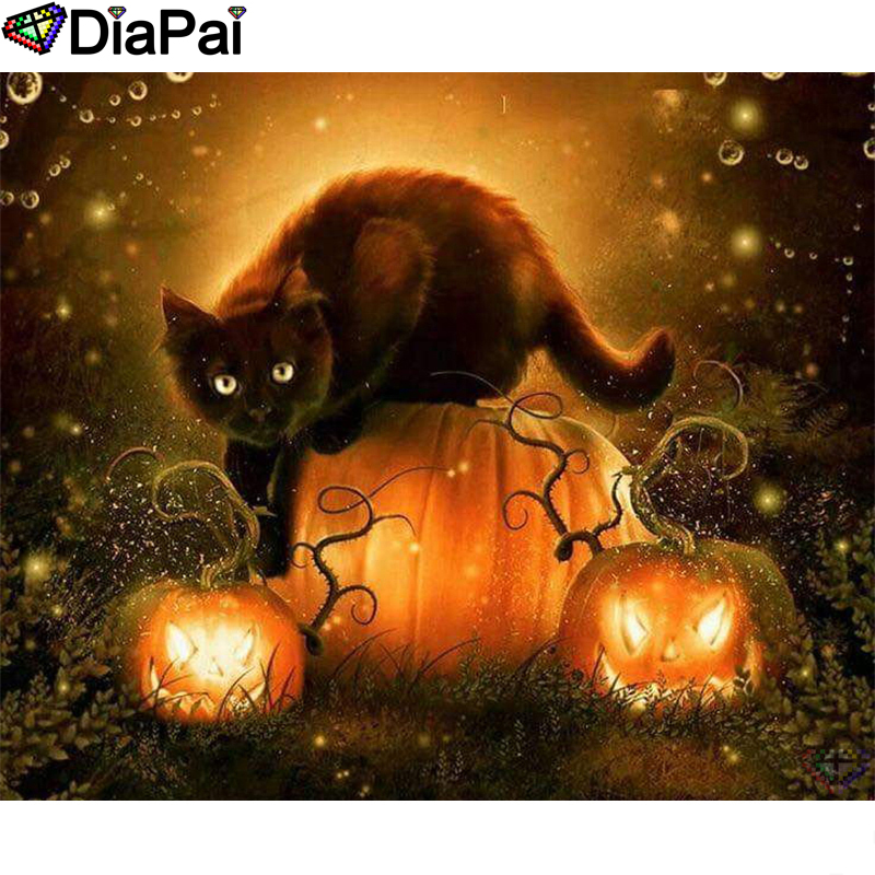 DIAPAI Diamond Painting 5D DIY 100 Full Square Round Drill quot Halloween cat quot Diamond Embroidery Cross Stitch 3D Decor A24686 in Diamond Painting Cross Stitch from Home amp Garden