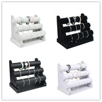 Wholesale 3 Tier Velvet/PU Leather Watch Bracelet Bangle Necklace Jewelry Organizer Storage Holder Display Stand Rack