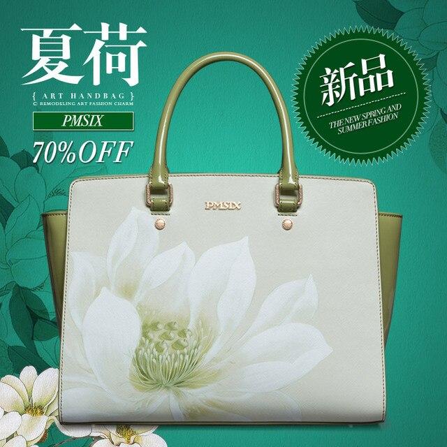 Elegant White Colour 100 Designer Cowhide Las Handbags Lotus Flower Women Handbag S
