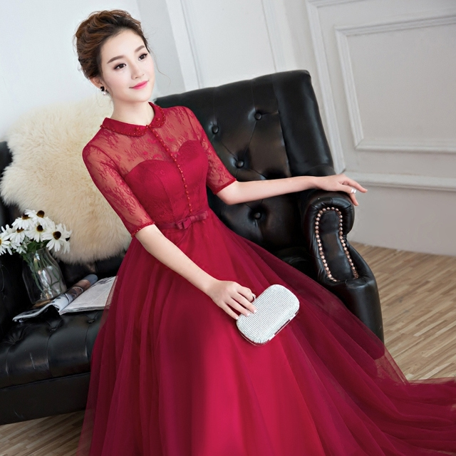 Elegant red lace half sleeves high neck see through Chinese ...